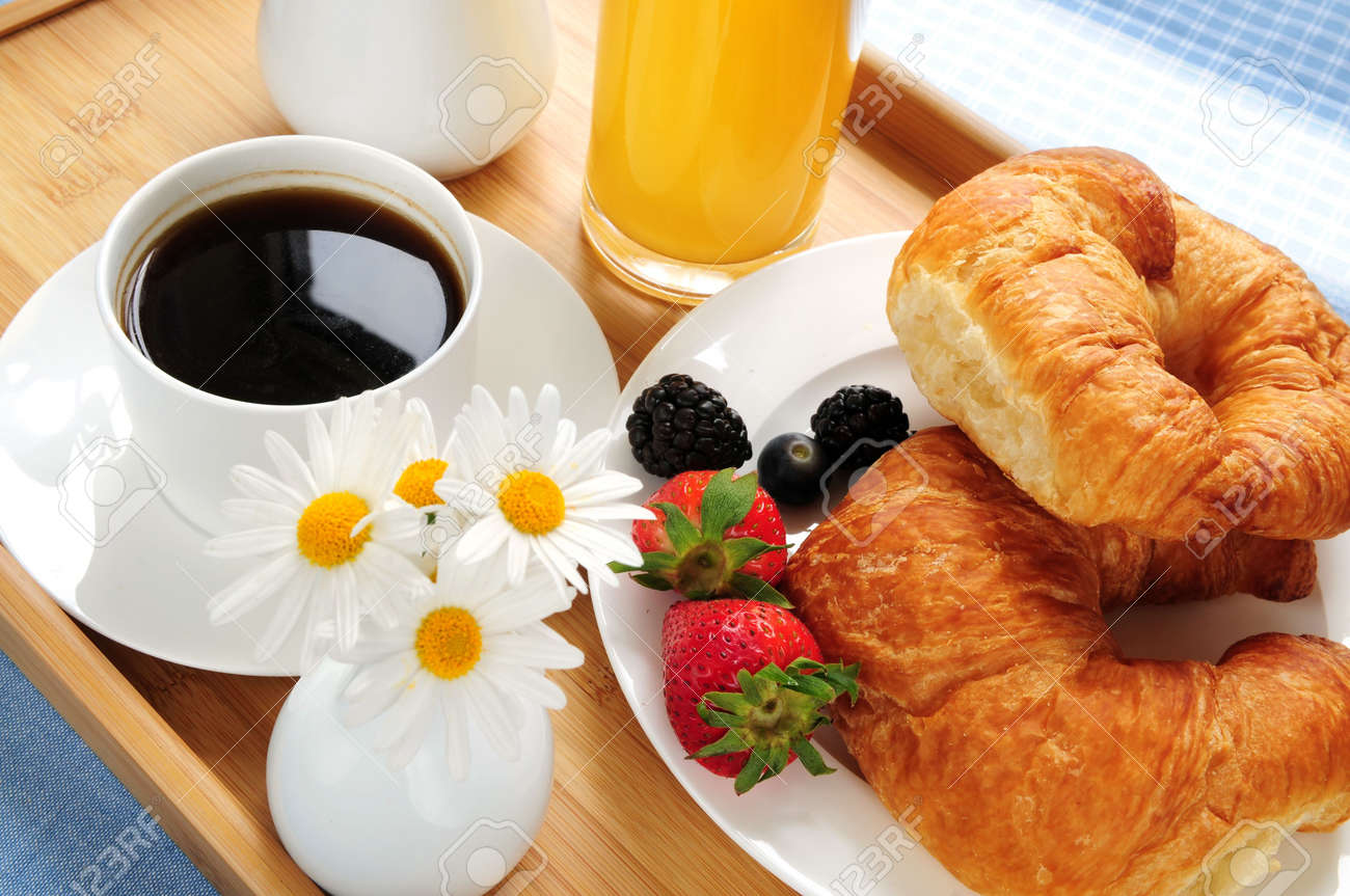 Breakfast served on a tray on a sunny morning Stock Photo - 3051647