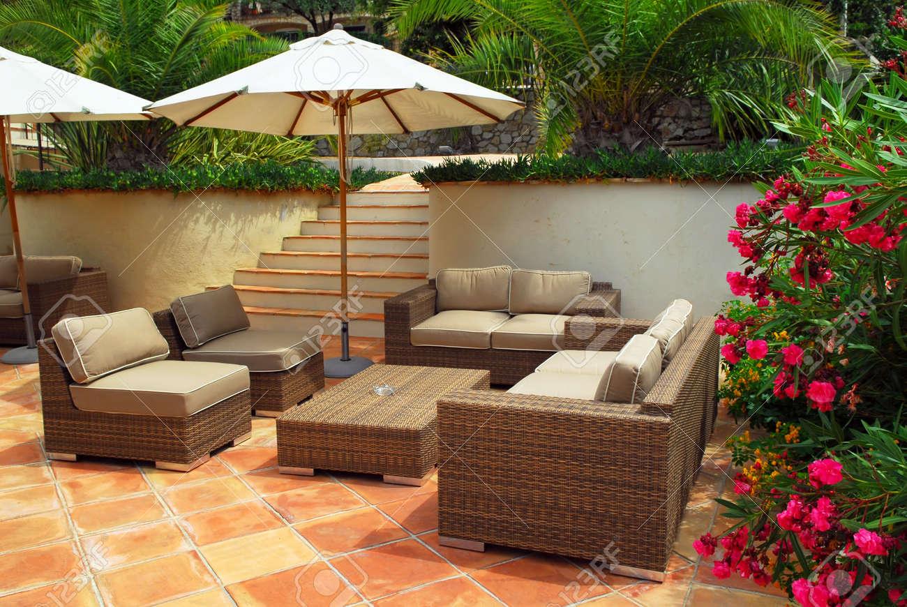 Patio Of Mediterranean Villa In French Riviera With Wicker Furniture Stock  Photo   3051652