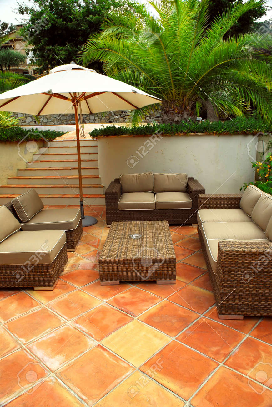 Patio Of Mediterranean Villa In French Riviera With Wicker Furniture Stock  Photo   3051653