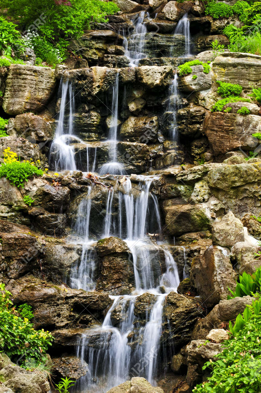 Waterfall In Japanese Enchanting Cascading Waterfall In Japanese Garden In  Springtime Stock Photo . Inspiration Design