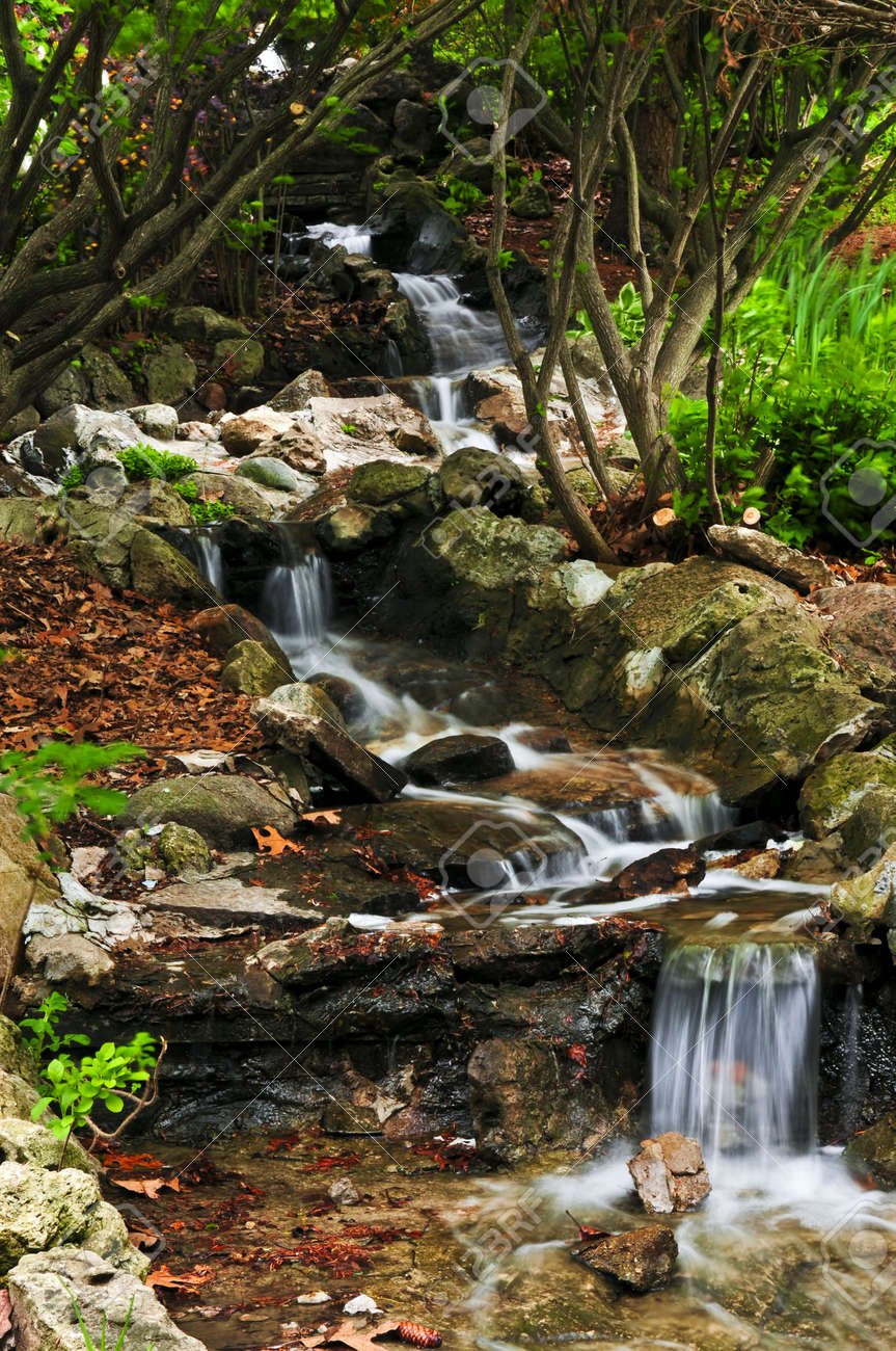 Creek With Small Waterfalls In Japanese Zen Garden Stock Photo ...