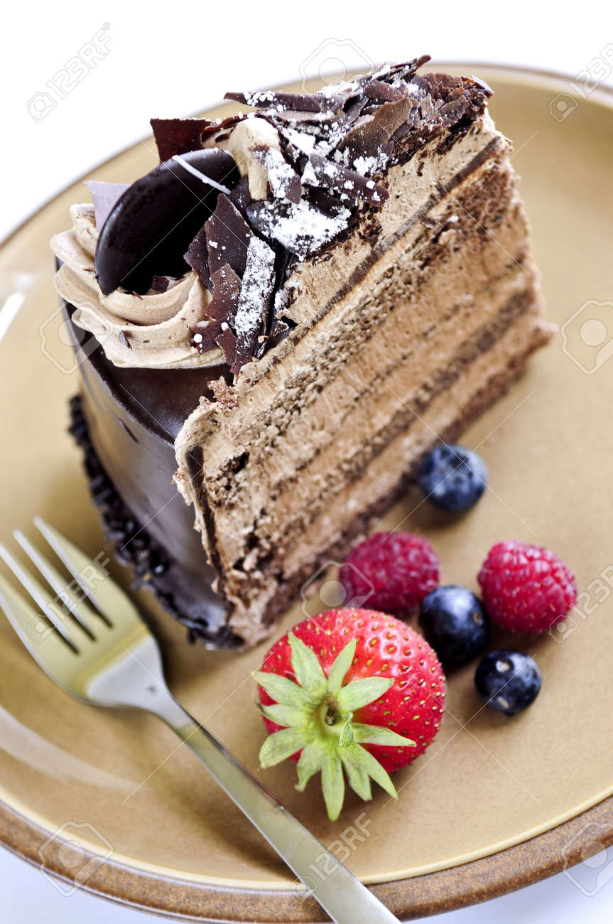 Chocolate Mousse Cake Slice Slice of chocolate mousse cake