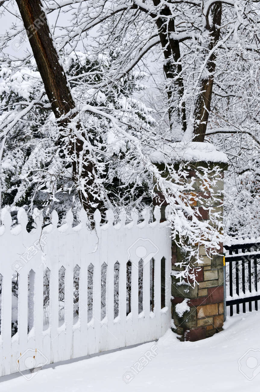 Fence in winter park covered with fresh snow Stock Photo - 3544299