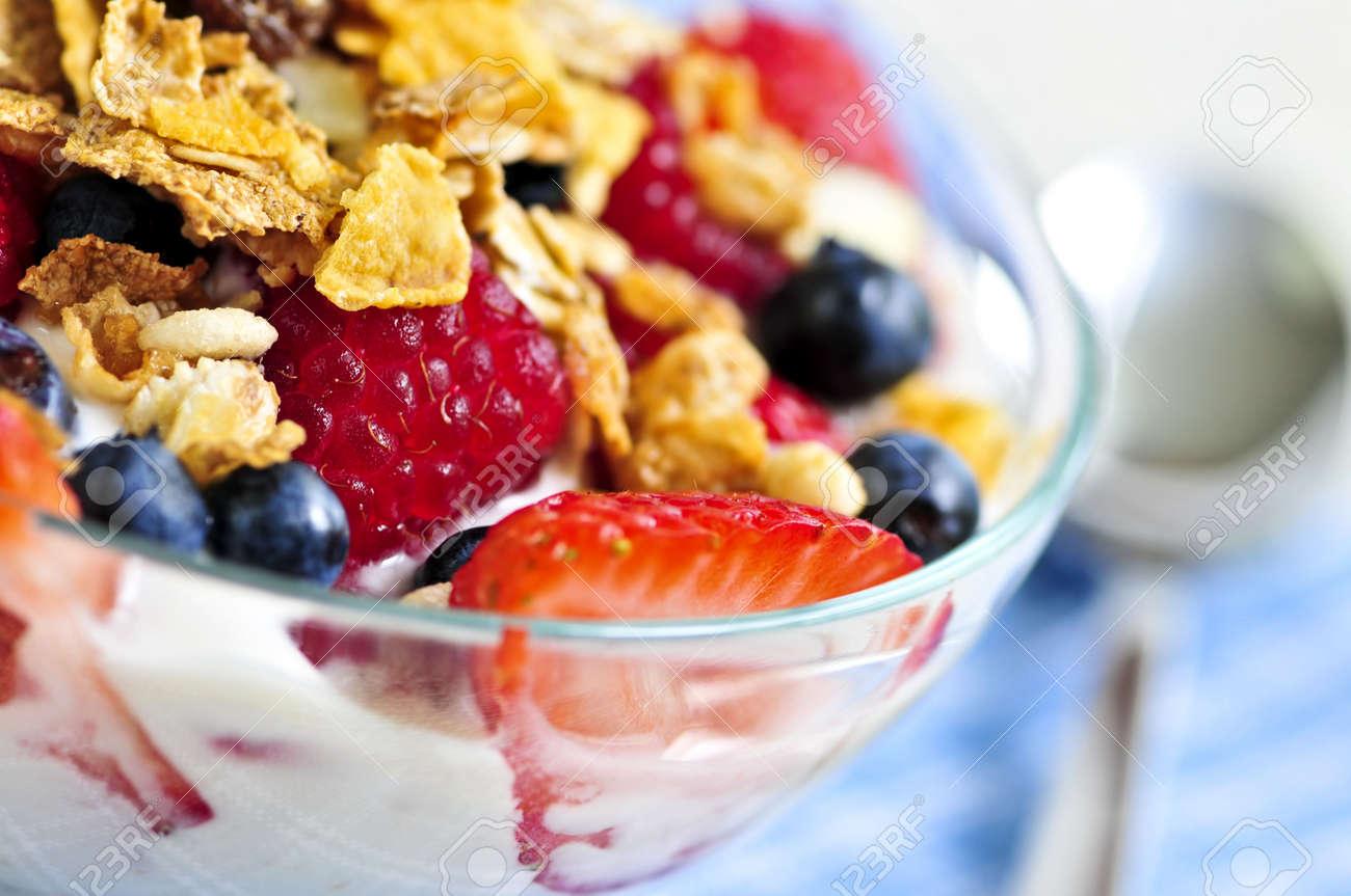 Serving of yogurt with fresh berries and granola Stock Photo - 3571912