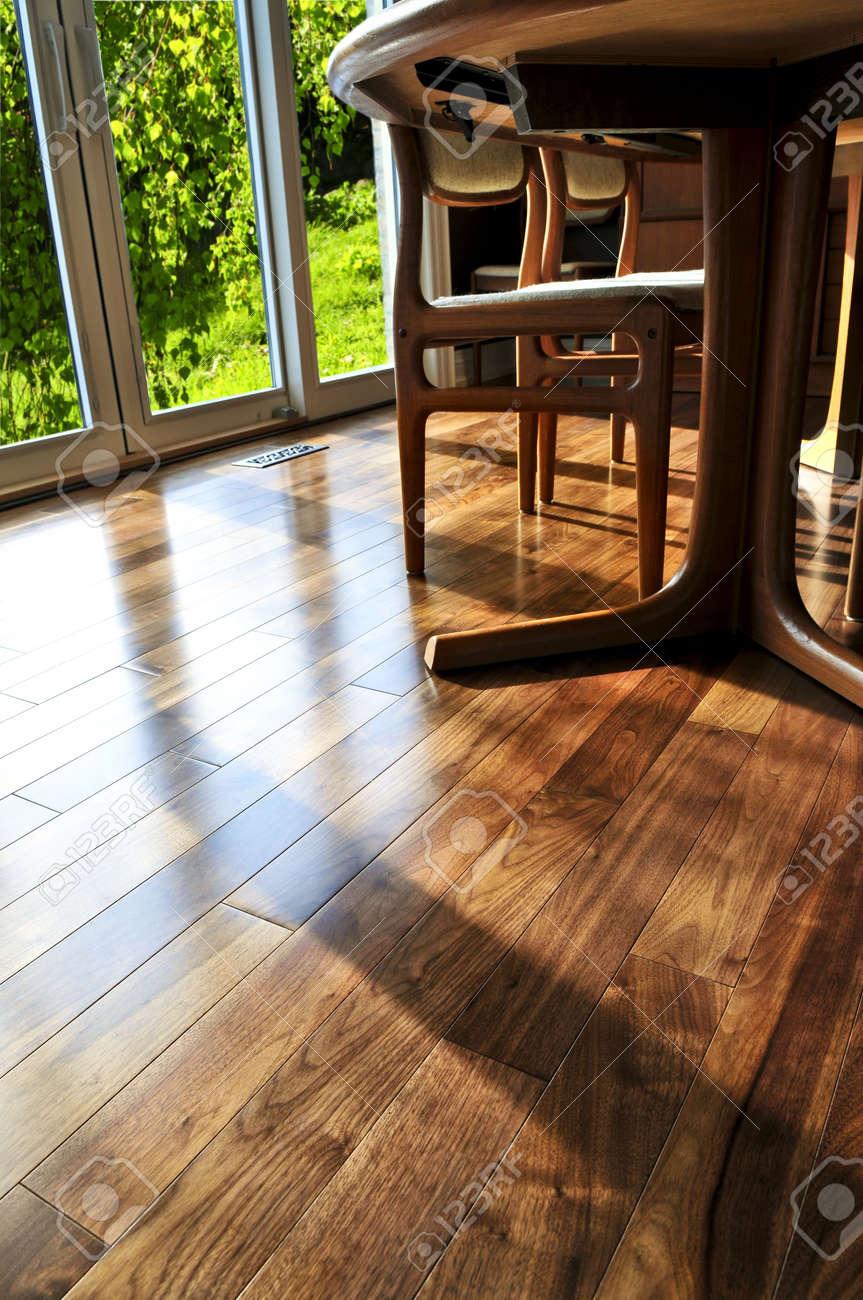 Flooring For Dining Room Hardwood Walnut Floor In Residential Home Dining Room Stock Photo