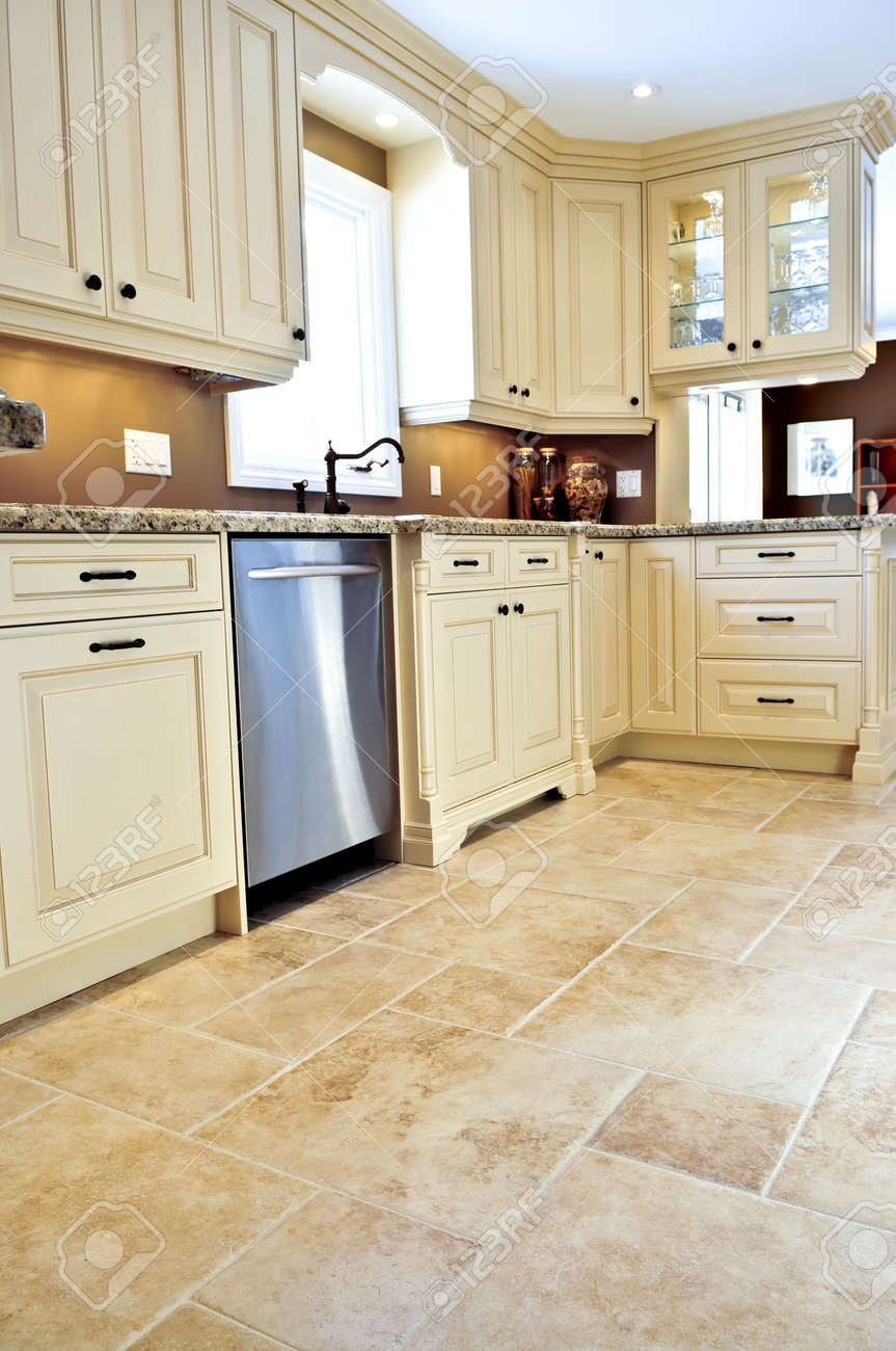 Ceramic tile floor in a modern luxury kitchen Stock Photo - 3930814