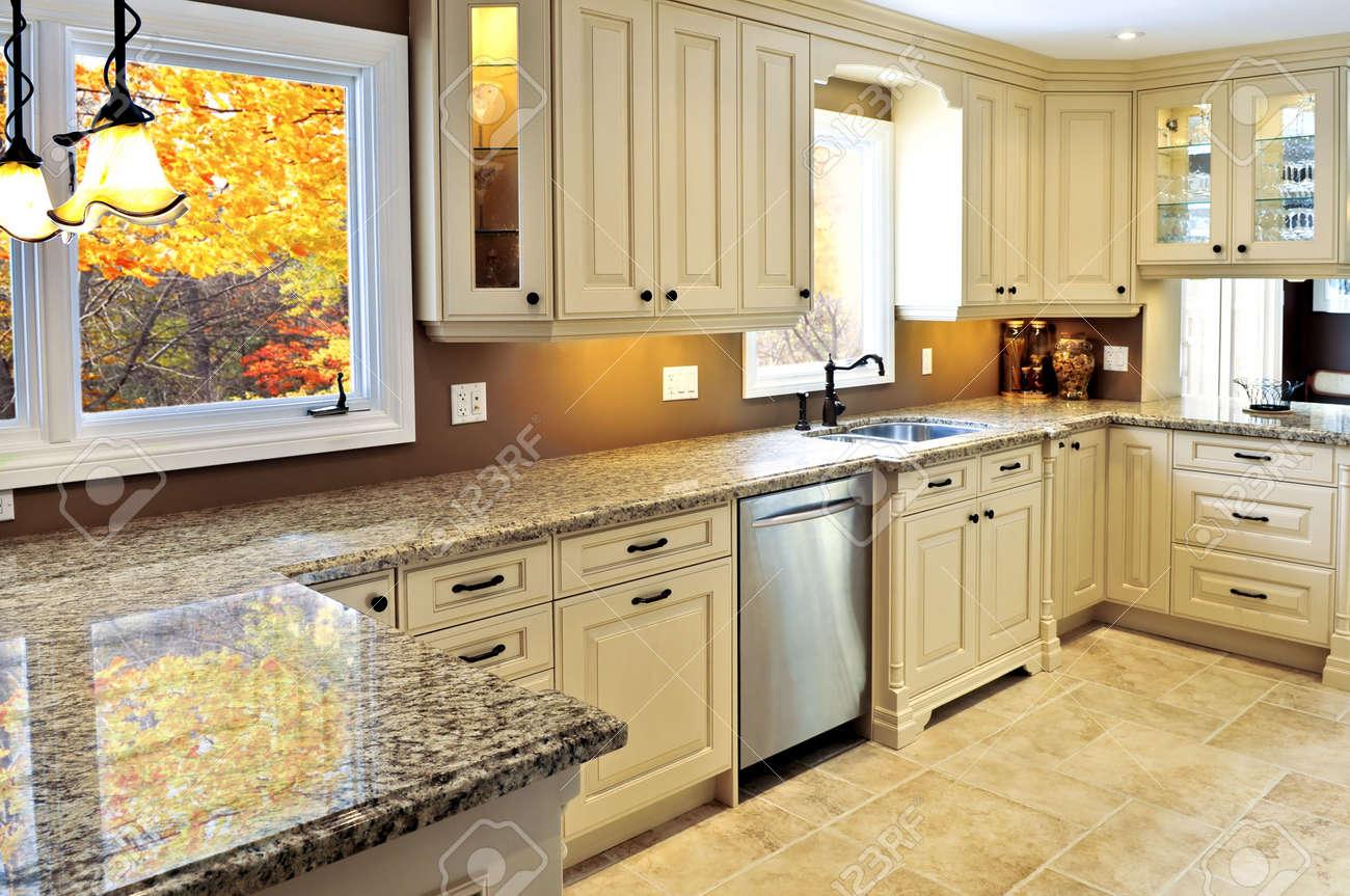 Merveilleux Modern Luxury Kitchen Interior With Granite Countertop Stock Photo   3930817