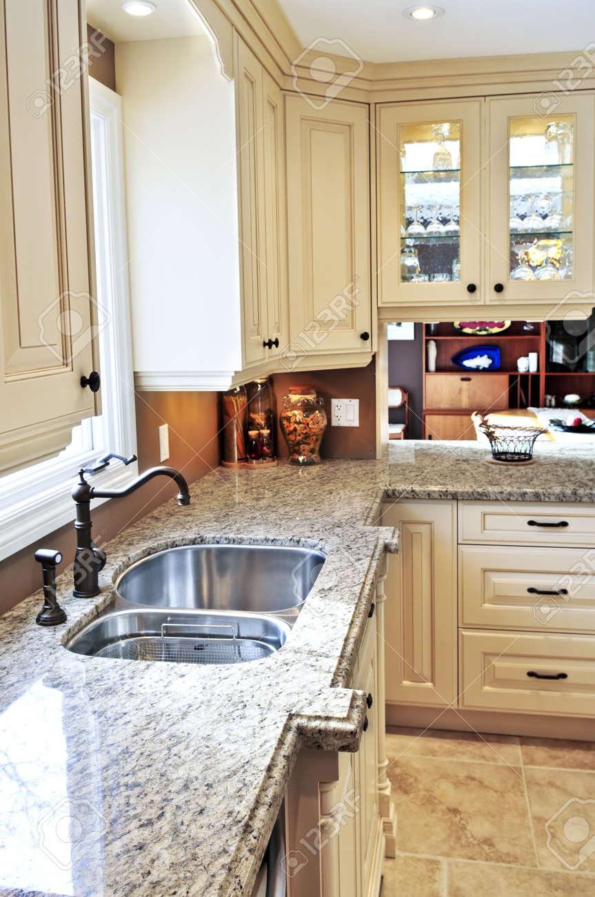 Charmant Modern Luxury Kitchen Interior With Granite Countertop Stock Photo   3942980