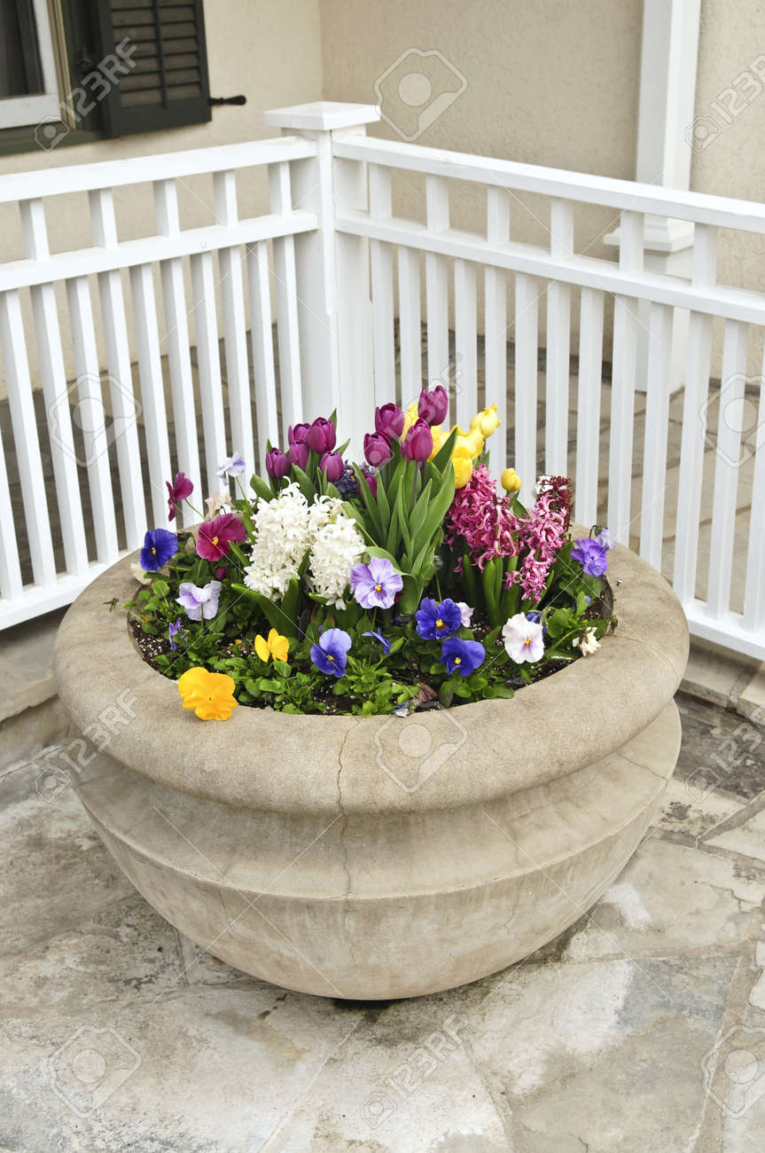 Stone planter with spring flowers on house patio Stock Photo - 4042334