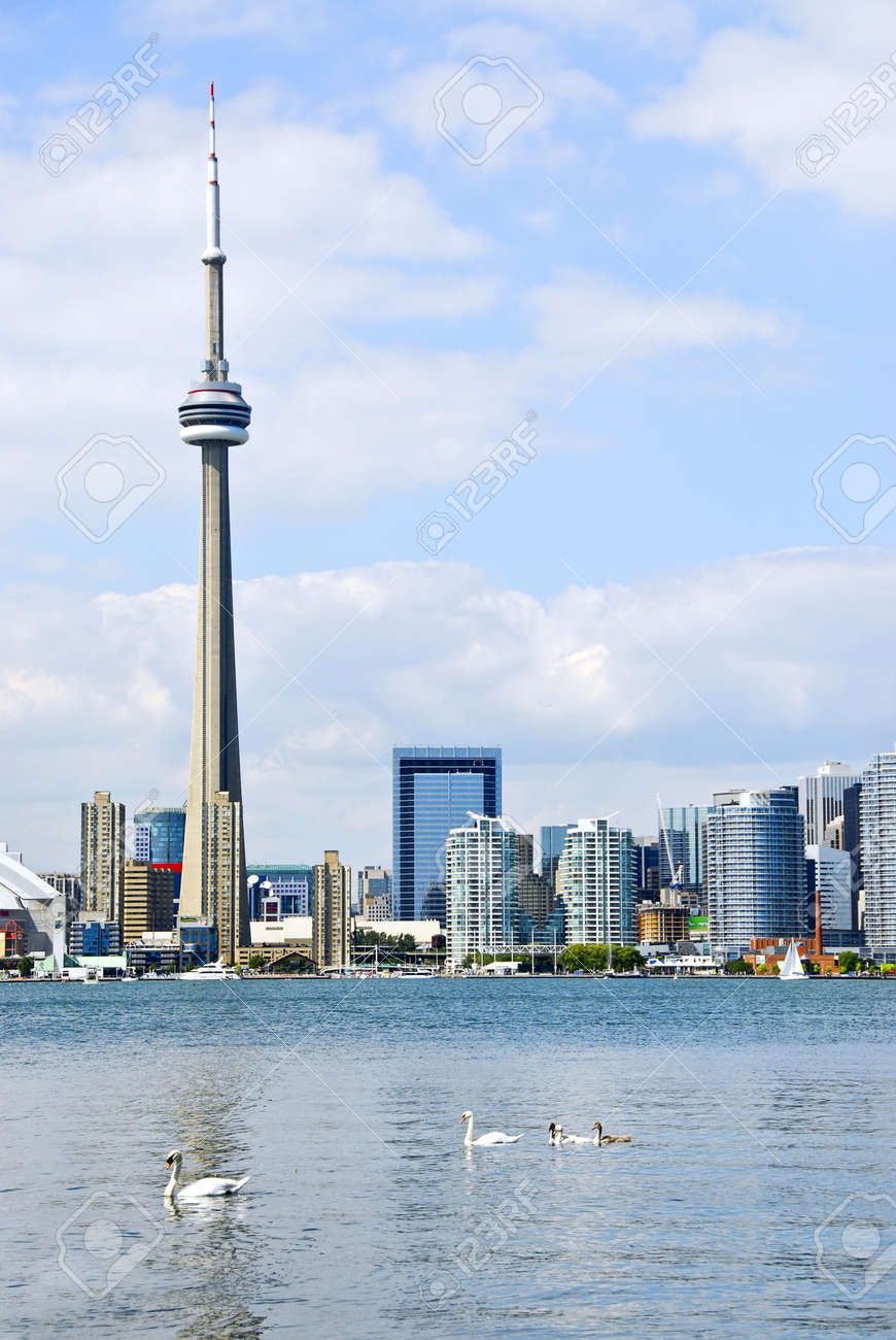 Toronto harbor skyline with CN Tower and skyscrapers Stock Photo - 4277843