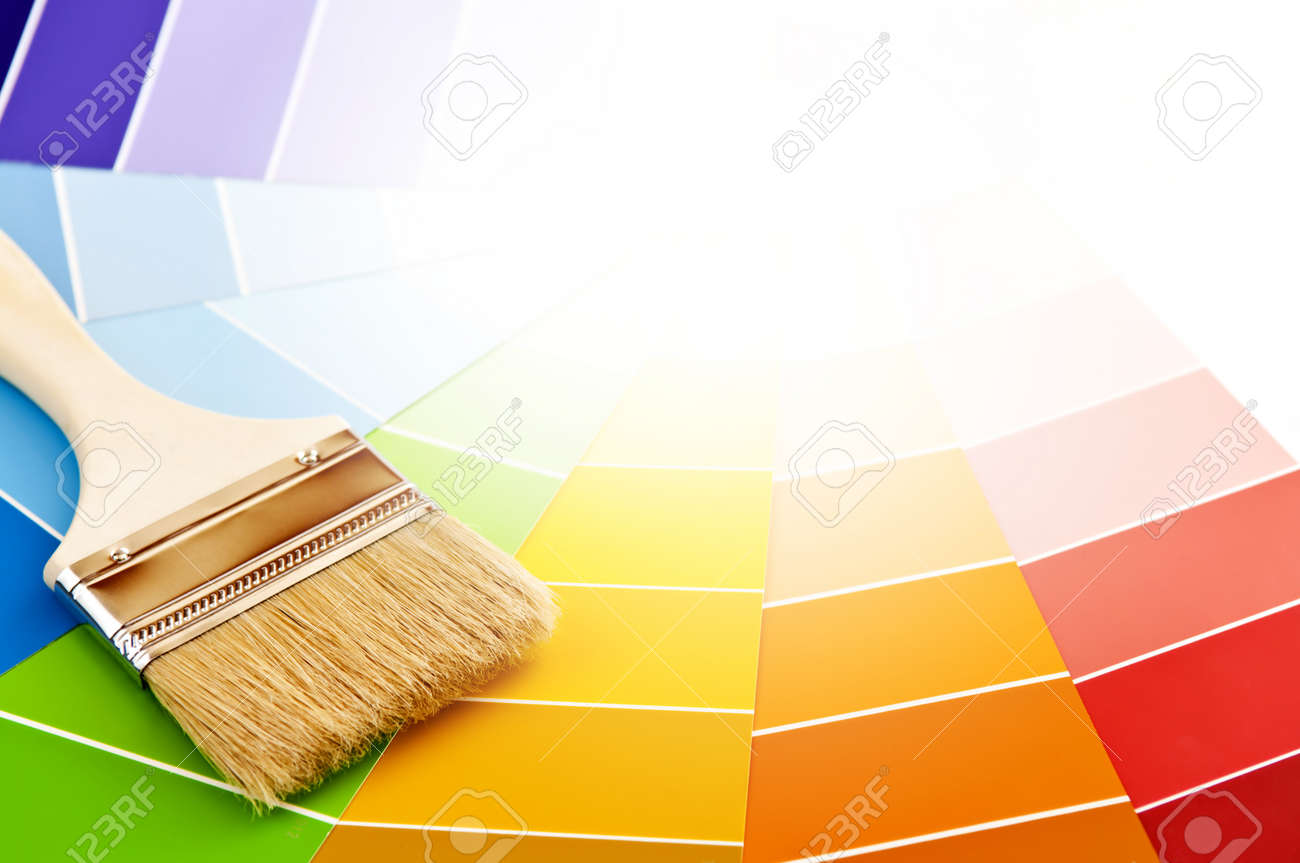 Clean paintbrush on rainbow of color card samples Stock Photo - 4484544
