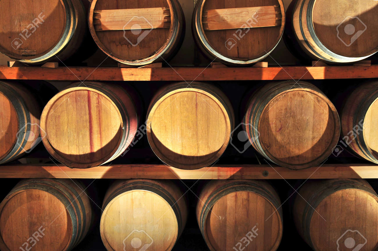 oak wine barrels. stacked oak wine barrels in winery cellar stock photo 4687977