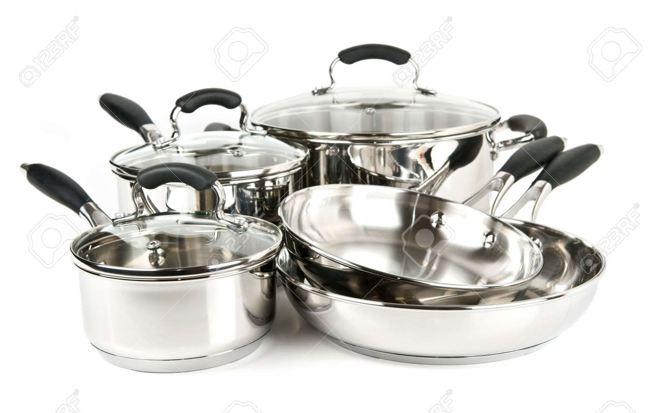 Stainless Steel Pots And Pans Isolated On White Background Stock Photo 4710510
