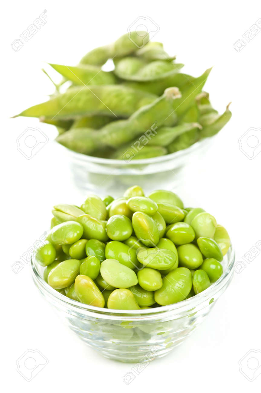 Edamame soy beans shelled and with pods in bowls Stock Photo - 4710502