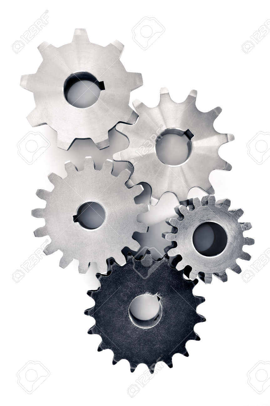 Interlocking industrial metal gears isolated on white Stock Photo - 5244956
