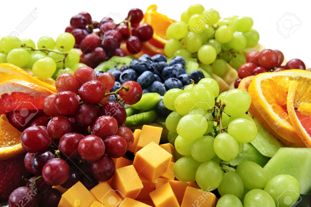 Platter of assorted fresh fruit and cheese Stock Photo - 5395783