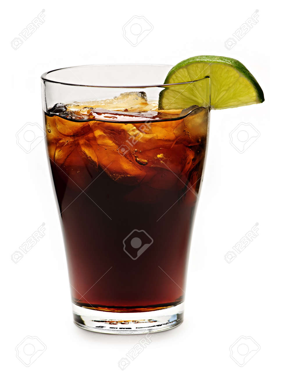 Glass of cola with ice and lime isolated on white background Stock Photo - 5801308