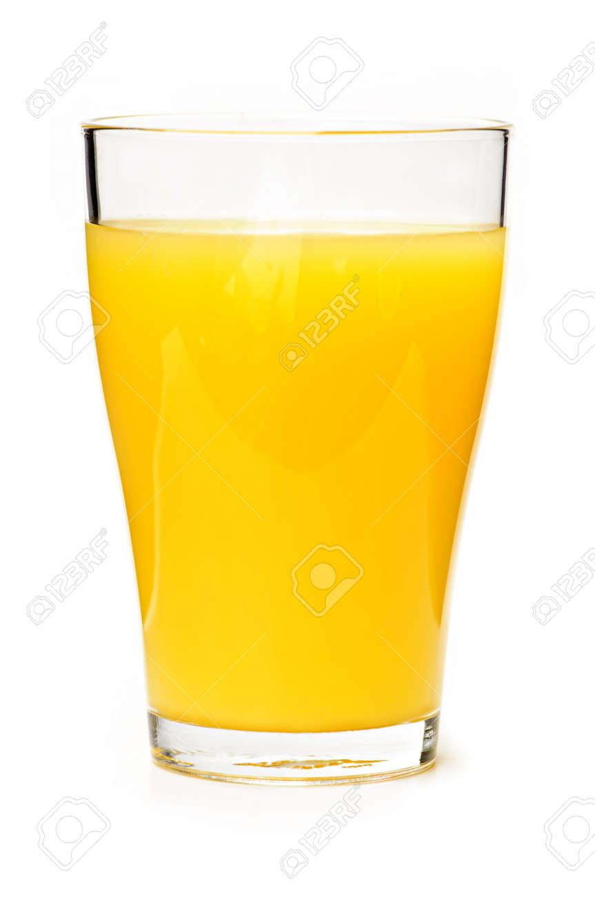 Orange juice in clear glass isolated on white background Stock Photo - 5801274