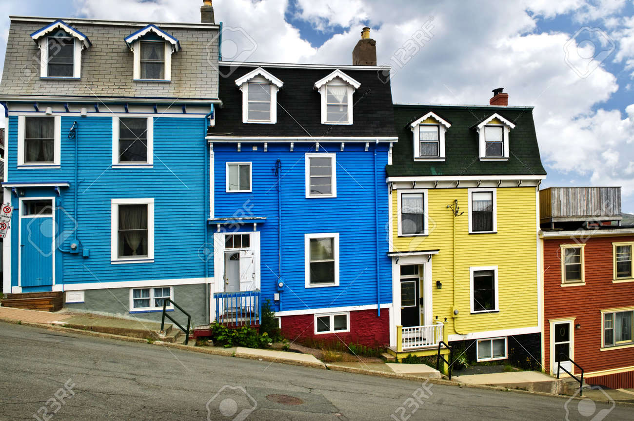 Colorful houses on hill in St. John's, Newfoundland, Canada Stock Photo - 6020781