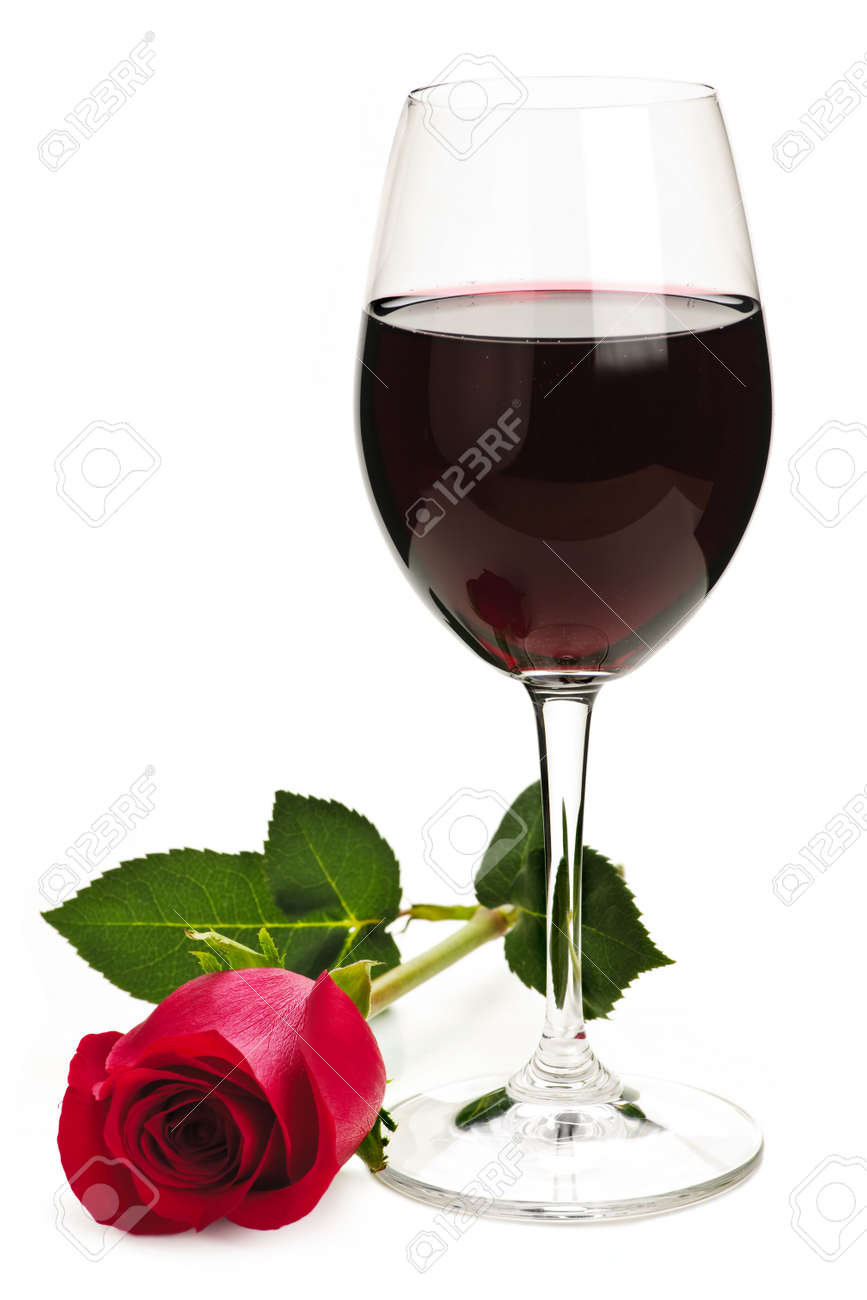 Romantic glass of red wine with long stemmed rose isolated on white background Stock Photo - 6307709