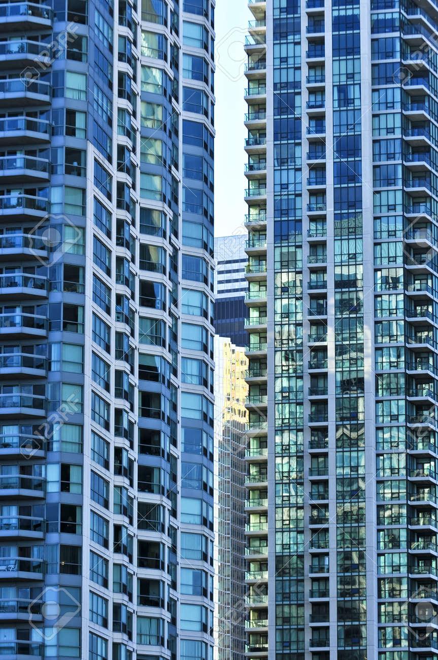 City Apartment Buildings tall condominium or apartment buildings in the city stock photo