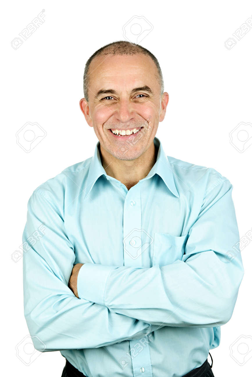 Portrait of smiling middle aged man isolated on white background Stock Photo - 7317235