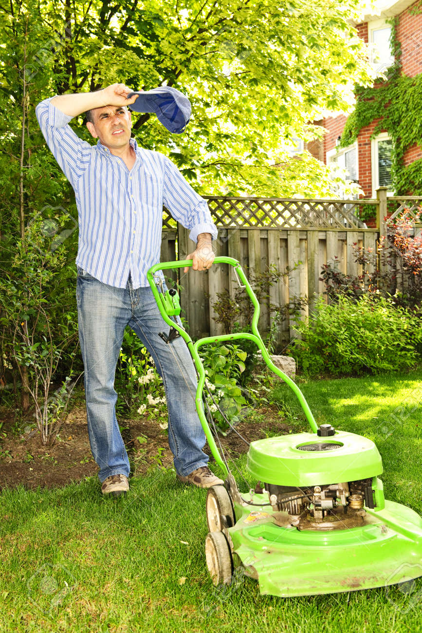 Image result for mowing the lawn in heat