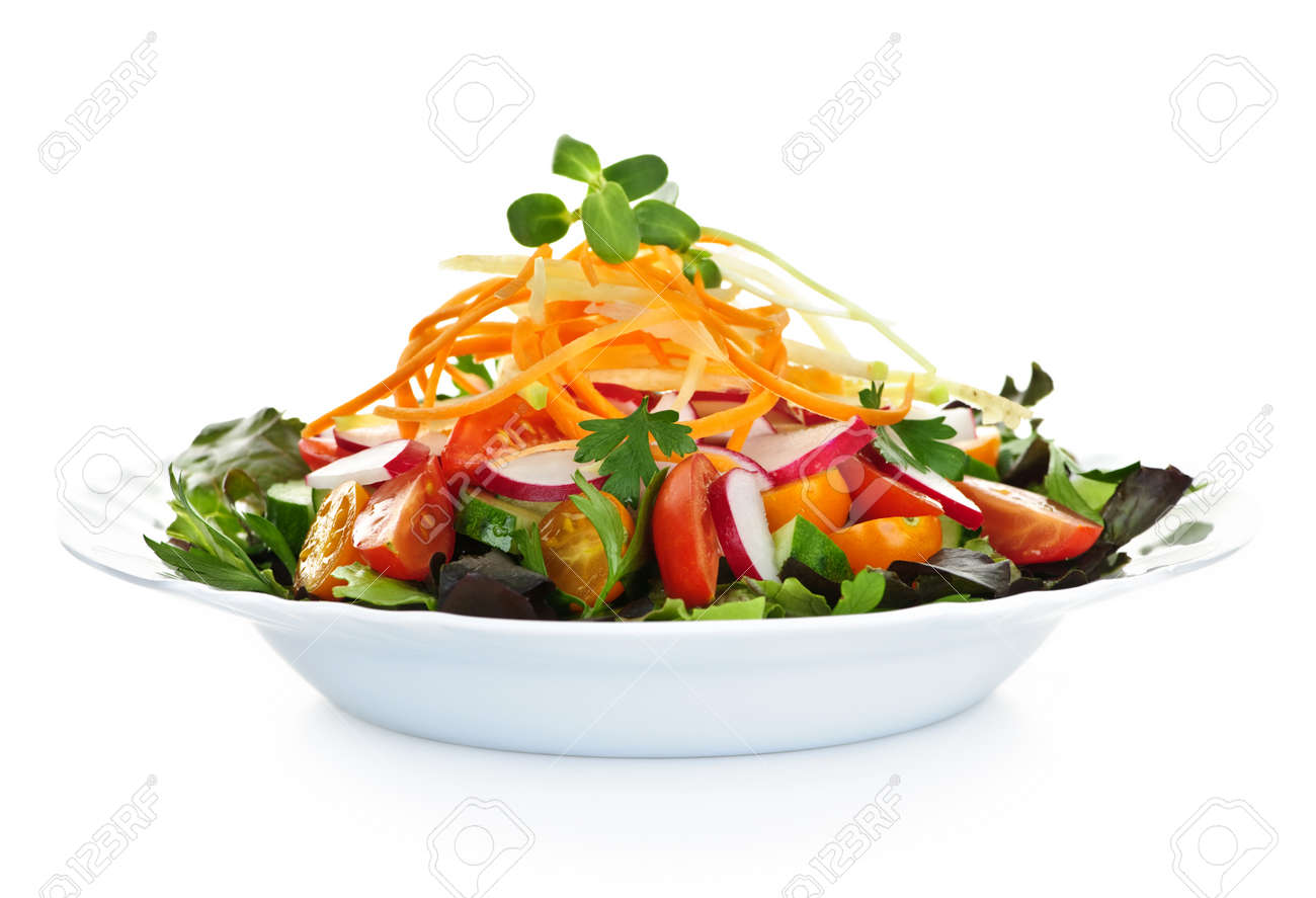 Plate Of Healthy Green Garden Salad With Fresh Vegetables On