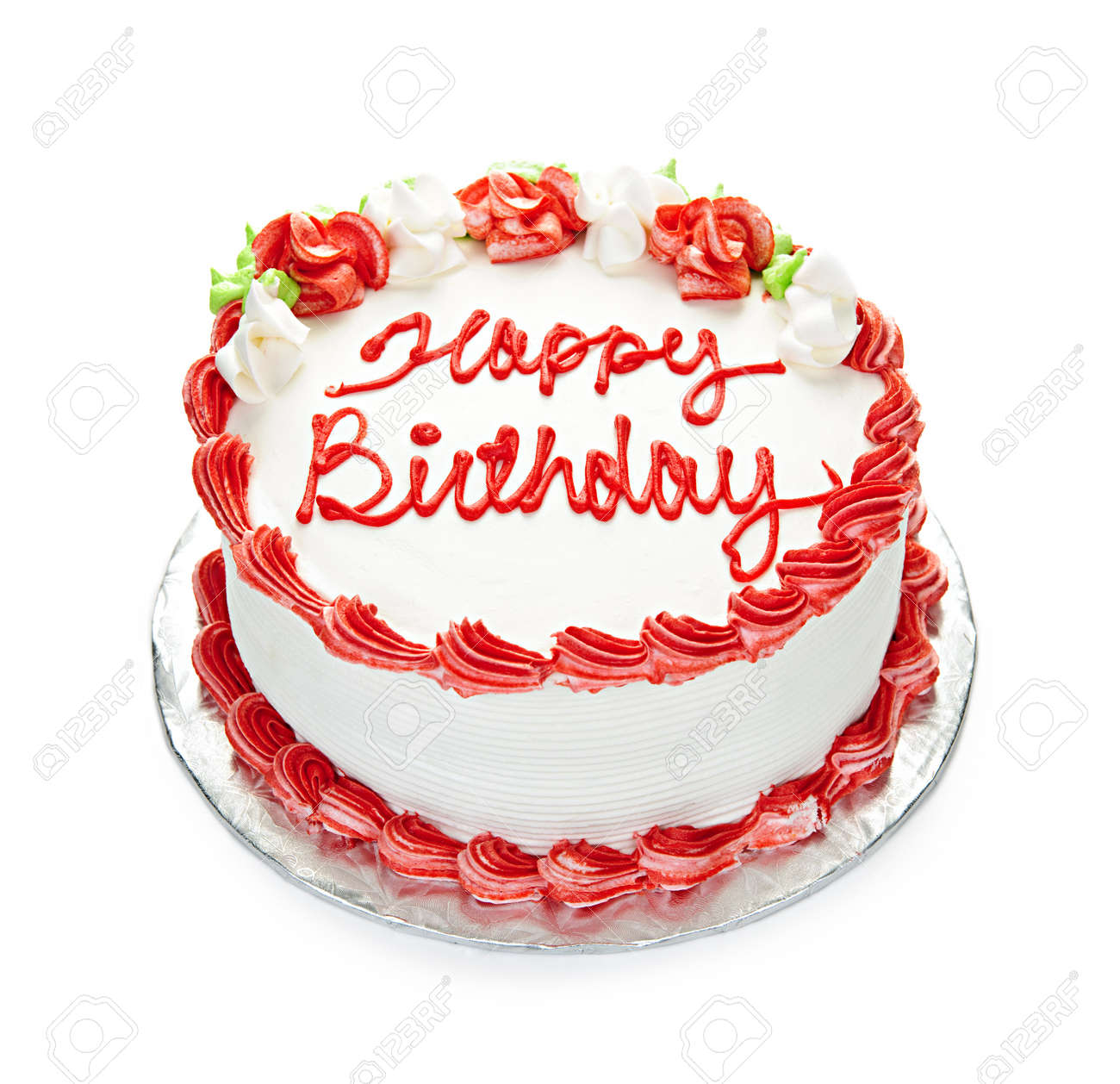Fabulous Birthday Cake With White And Red Icing Isolated On White Stock Funny Birthday Cards Online Aeocydamsfinfo