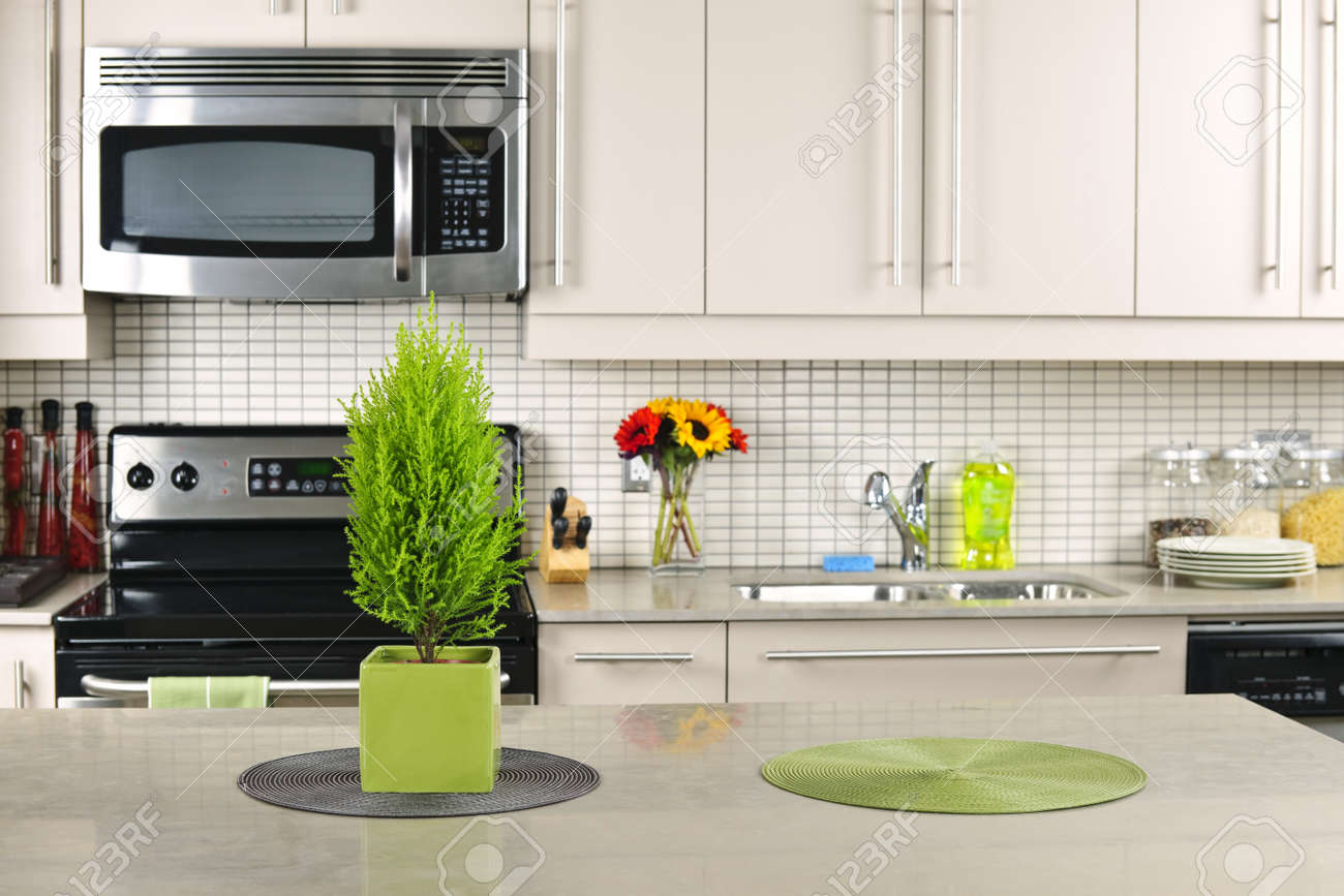 Modern Kitchen Countertop Modern Kitchen Interior With Natural Stone Countertop Stock Photo