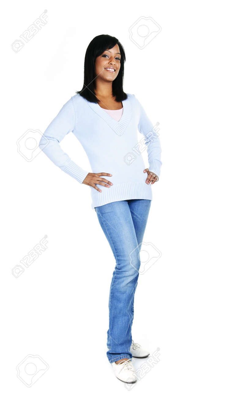 Confident black woman standing isolated on white background Stock Photo - 8066993