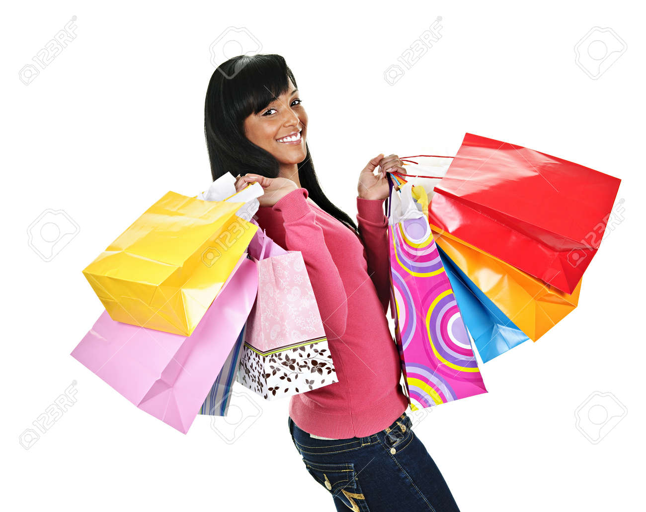 Young Smiling Black Woman Holding Colorful Shopping Bags Stock ...