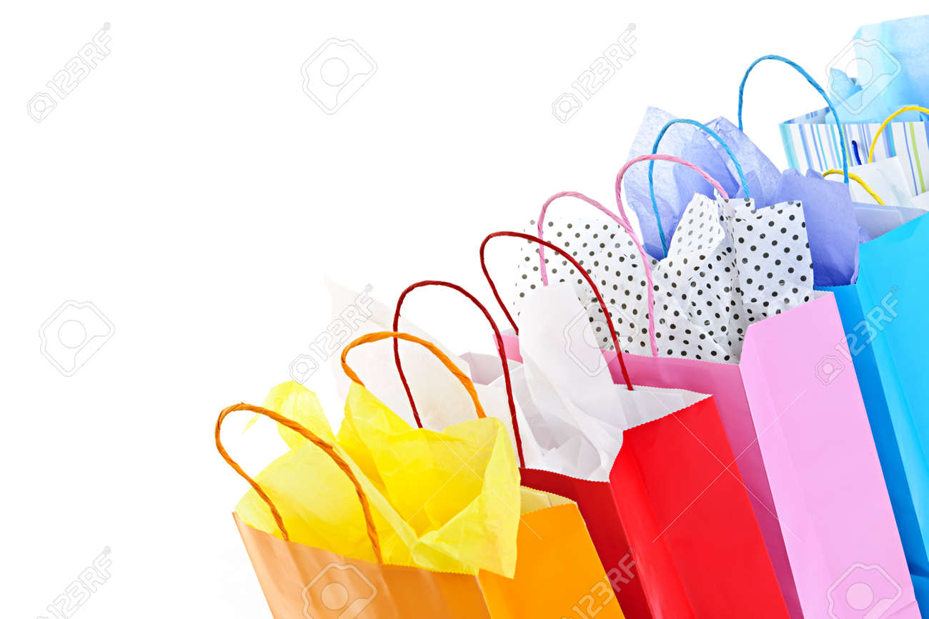 Many Colorful Shopping Bags On White Background Stock Photo ...