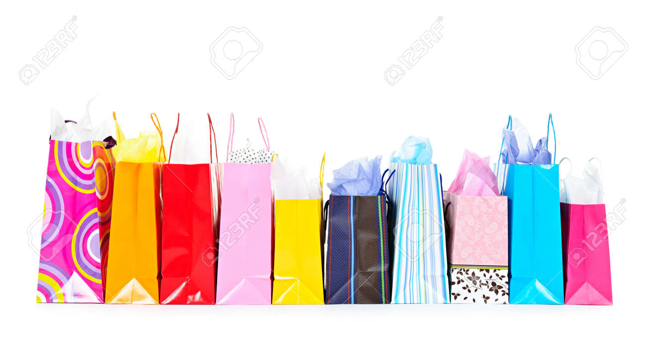 Row Of Colorful Shopping Bags Isolated On White Background Stock ...
