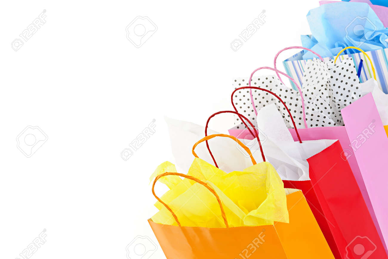 Many colorful shopping bags on white background Stock Photo - 9240546