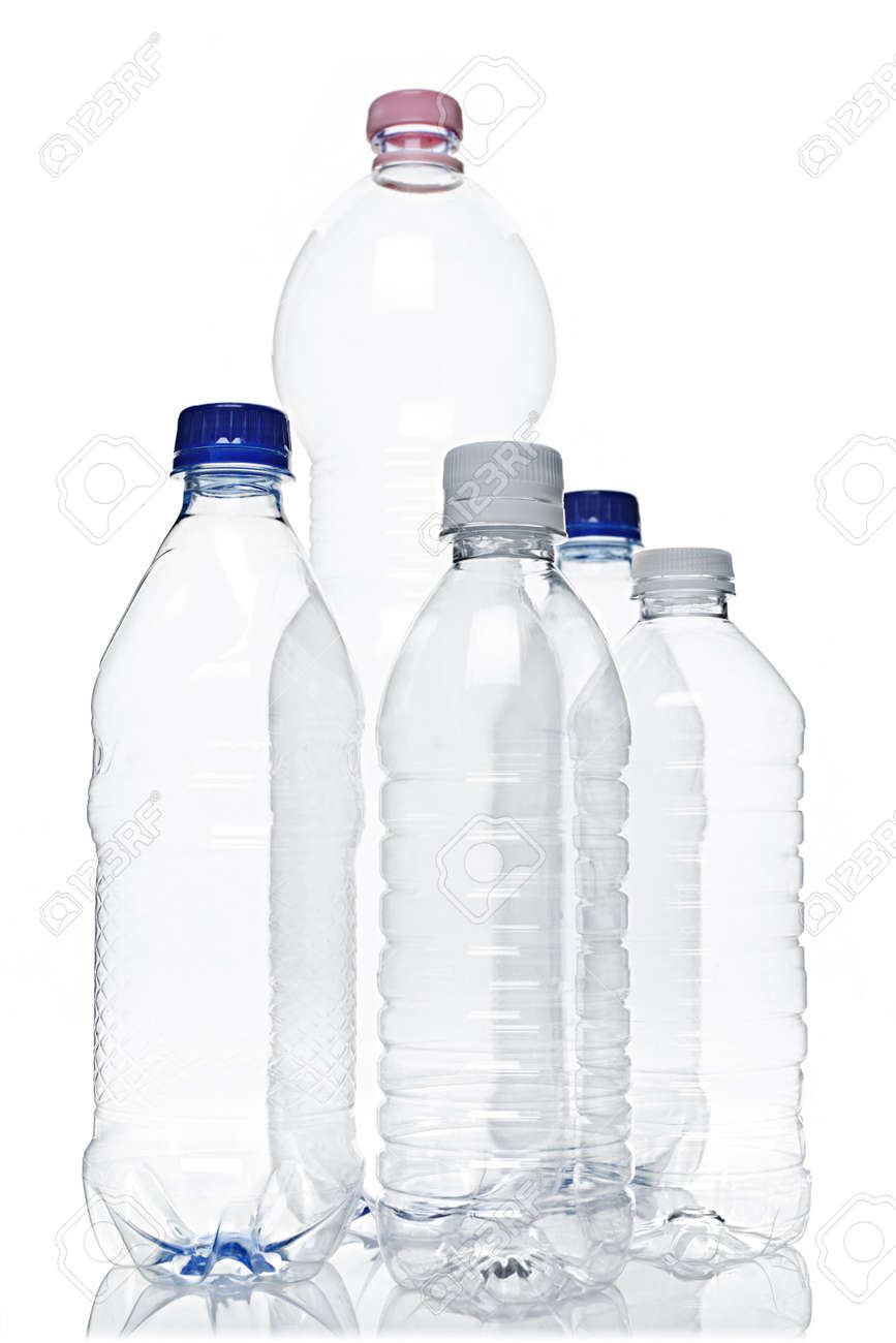 Assorted clear empty plastic recyclable bottles isolated on white Stock Photo - 9417813