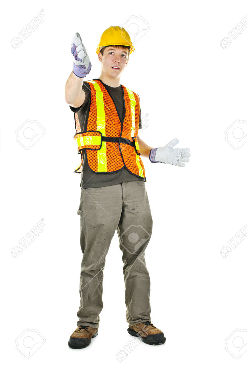 Male construction worker directing with hand signals in vest and hard hat Stock Photo - 9417808