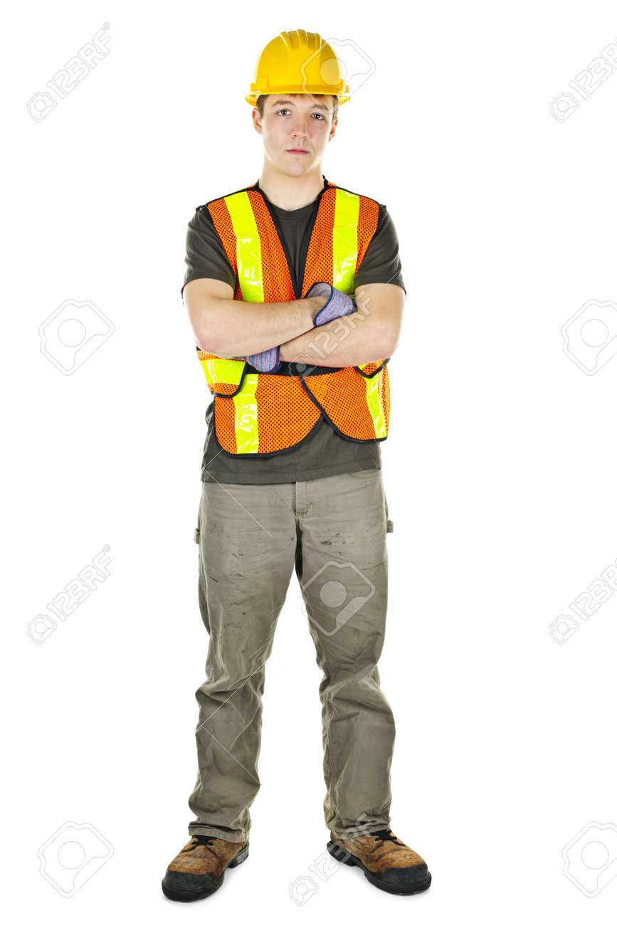 serious male construction worker in safety vest and hard hat stock