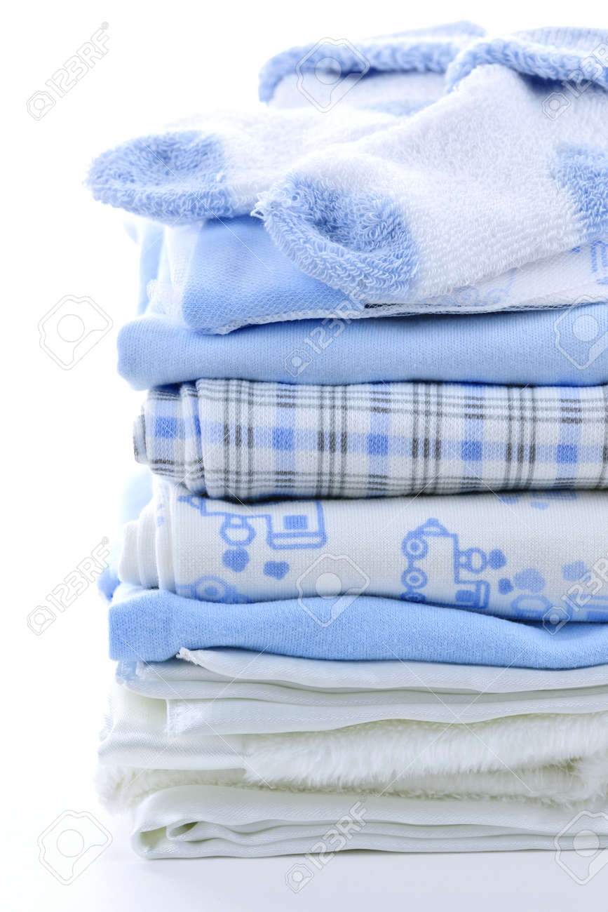 Stack of blue infant clothing for baby shower Stock Photo - 9660727