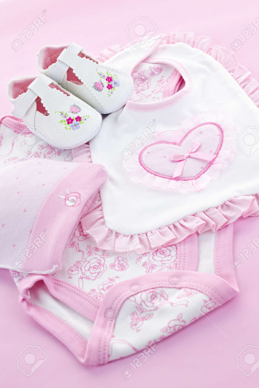 Pink infant girl clothing for baby shower Stock Photo - 9734586