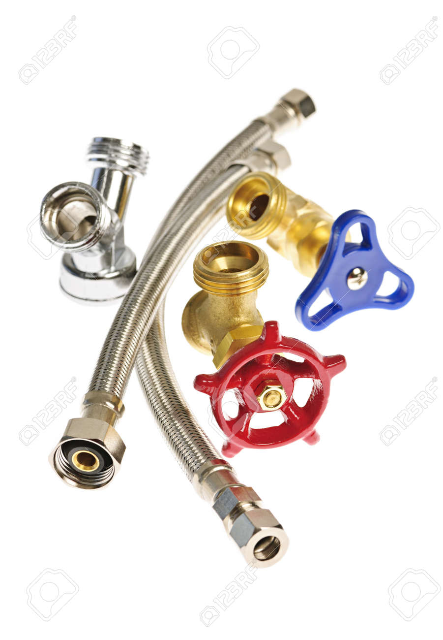 Isolated plumbing valves hoses and assorted parts Stock Photo - 13306527