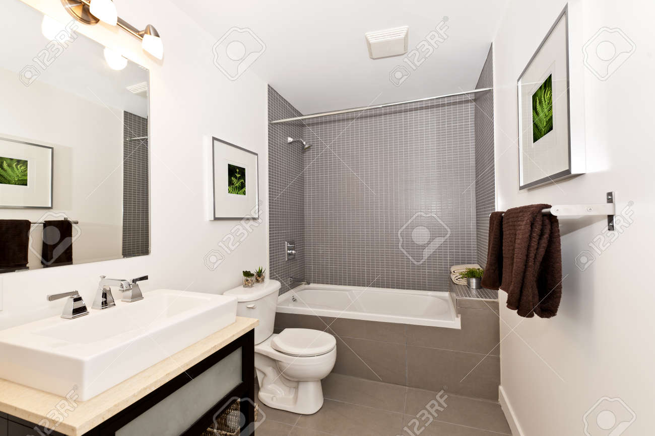 Interior three piece bathroom - artwork on walls are from photographer  portfolio Stock Photo - 15374851