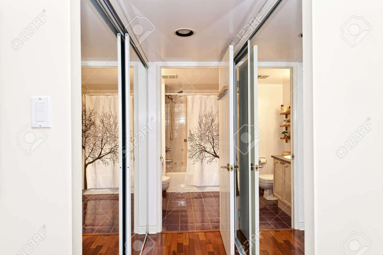 Interior Hallway With Walk Through Mirrored Closets To Bathroom Stock Photo    15383347