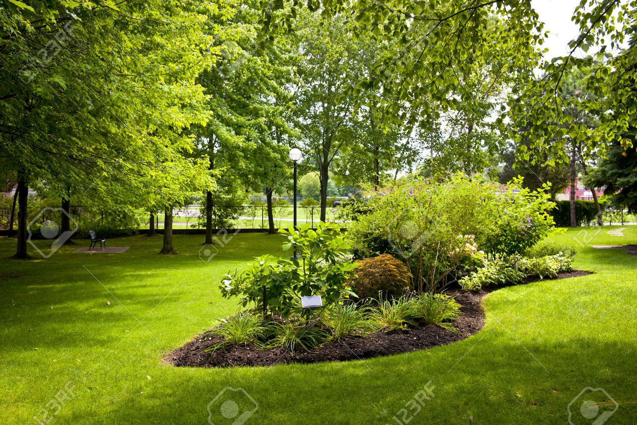 Lush landscaped grounds with garden in city park Stock Photo - 15391772
