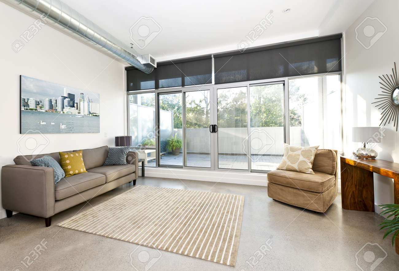Lovely Living Room With Sliding Glass Door To Balcony   Artwork From Photographer  Portfolio Stock Photo   Part 14