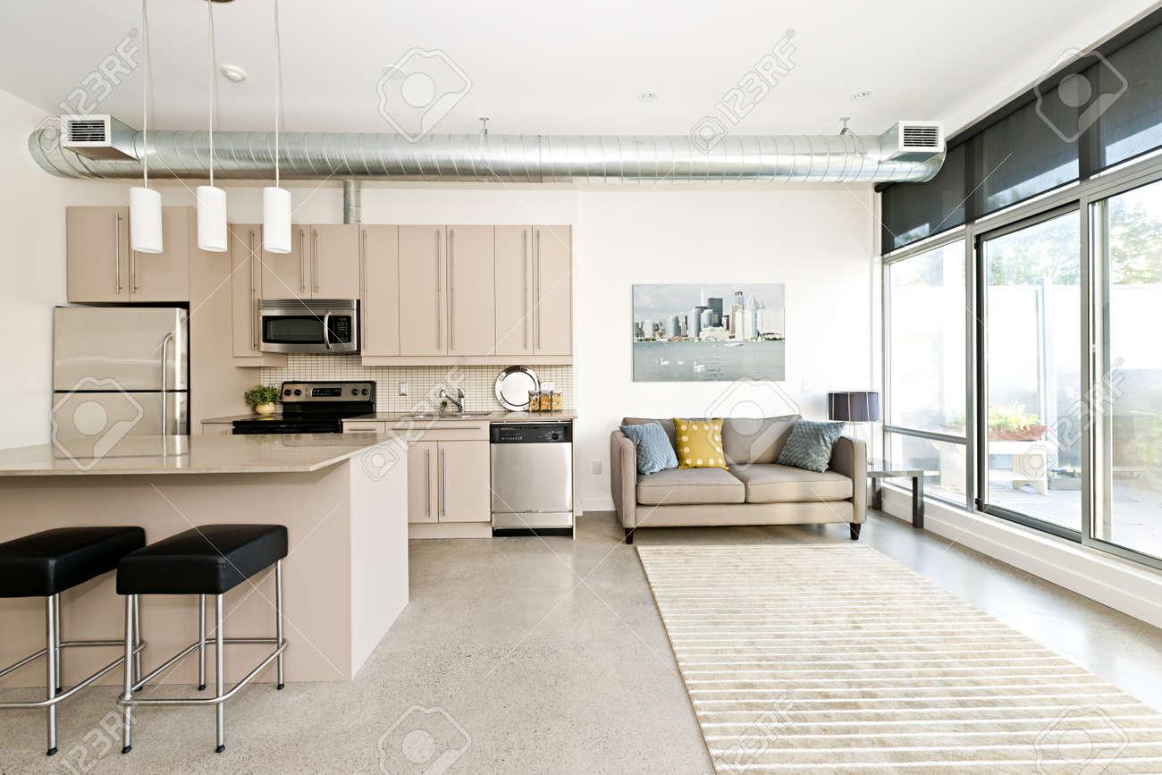Keuken en woonkamer van loft appartement   kunstwerk van fotograaf ...