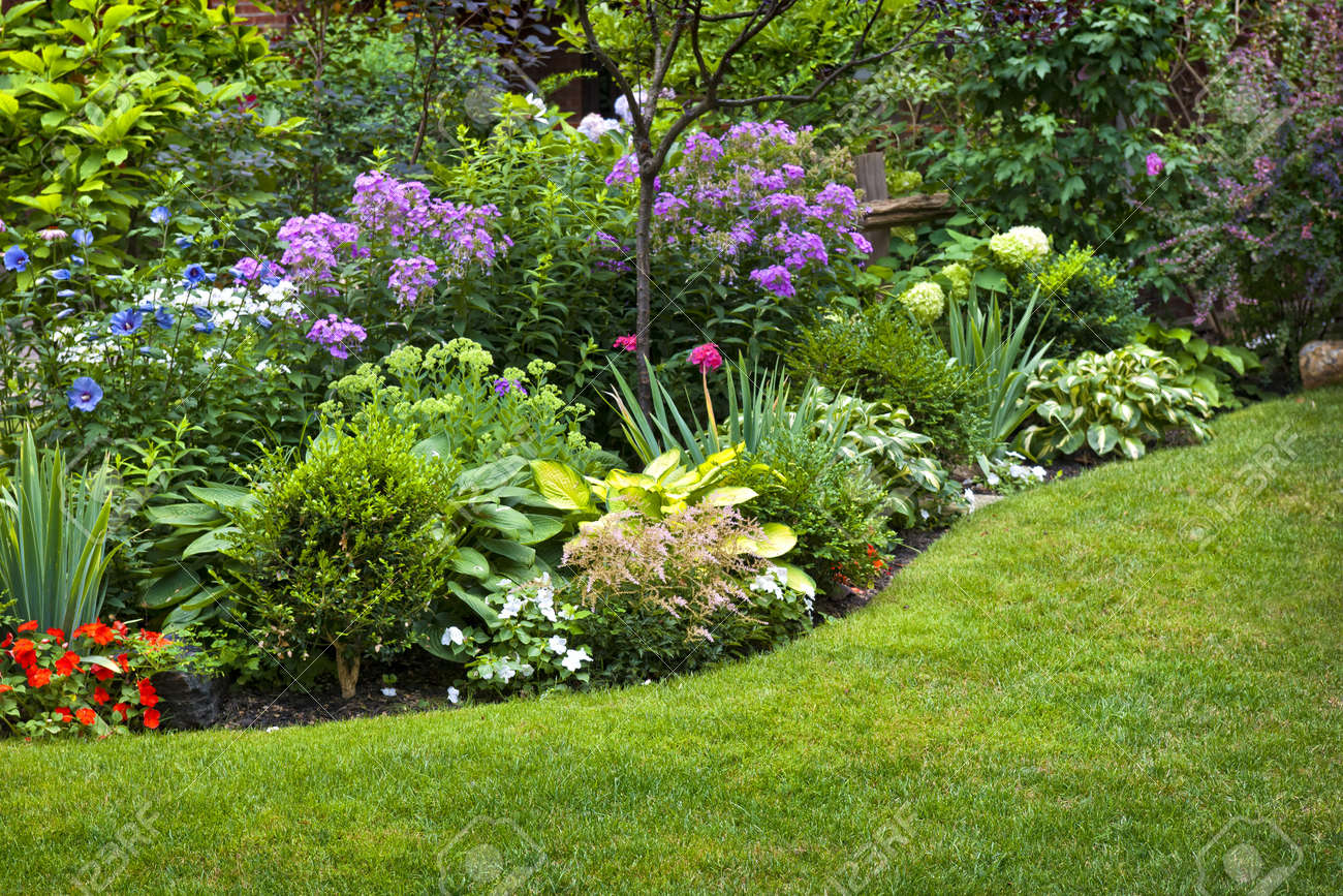 ... Garden Design With Lush Landscaped Garden With Flowerbed And Colorful  Plants Stock With Pictures Of Backyard