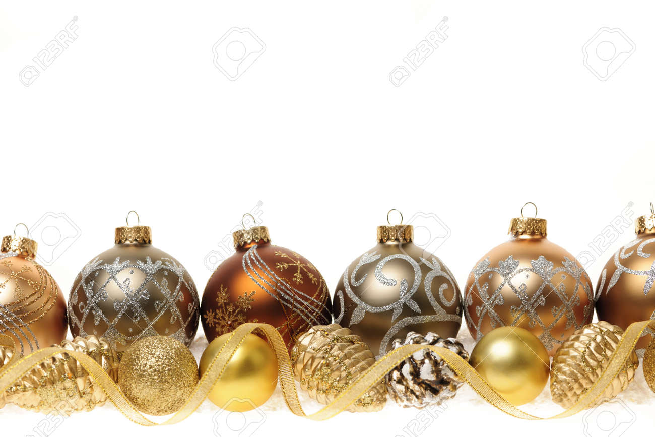Golden Christmas Decorations With Gold Balls And Ornaments On ...