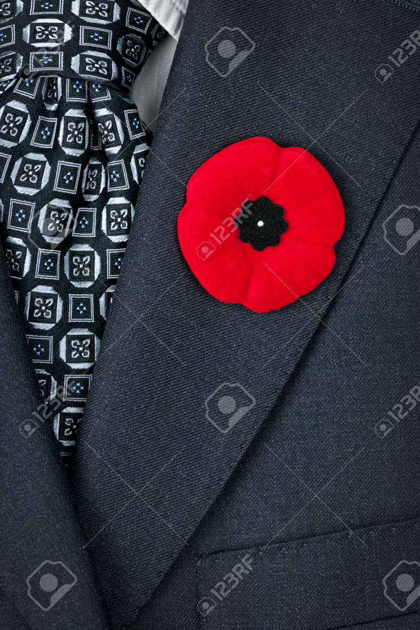 red poppy lapel pin on suit jacket for remembrance day stock photo