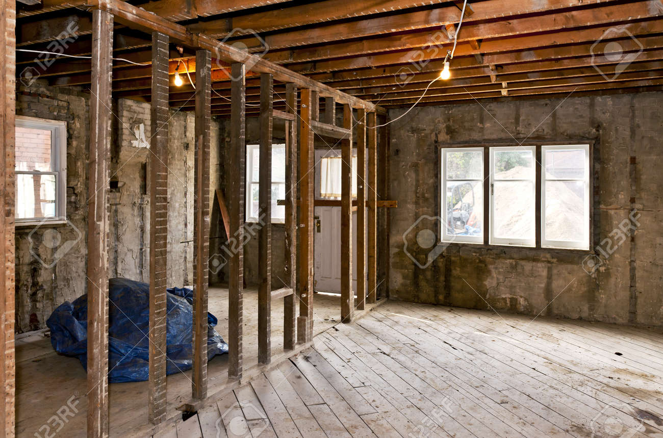 Interior of a house under gut renovation at construction site Stock Photo - 16755219